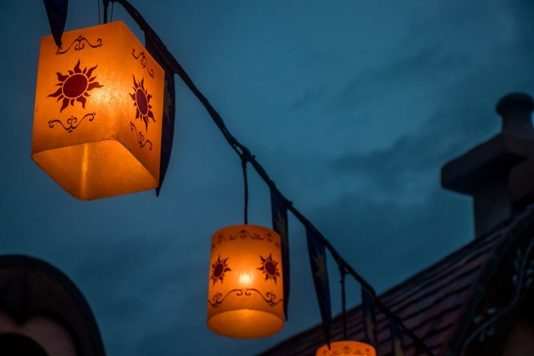 worm s eye view photo of candle lantern